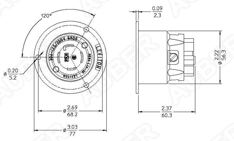 2715_3 leviton 125 250v 30a nema l14 30p locking flanged inlet [l14 30p f 30a 125 250v wiring diagram at bayanpartner.co
