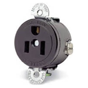 Leviton 120V 15A US Socket, Panel Mount, NEMA 5-15R Round Cut
