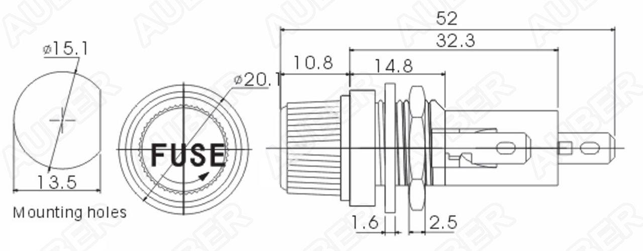 panel mount cartridge fuse holder  fsh-630