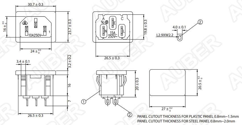 120v 15a Receptacle Panel Mount Iec 320 C14 Inr1 1