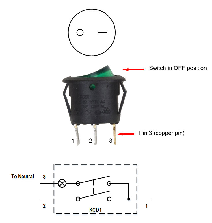 Lighted Rocker Switch Wiring Diagram: Single Pole Single Throw Rocker Switch 120V 10A [KCD1] - $1.80 ,Design