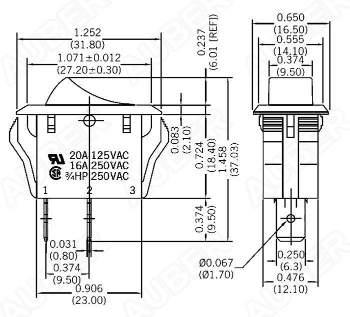 single pole single throw rocker switch 125v 20a  kcd2