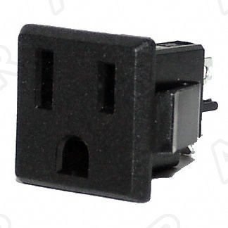 120V 15A US Socket, Panel Mount, NEMA 5-15R