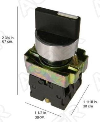 Selector Switch, 3-Position Maintained, 1 NC, 1 NO, 22mm