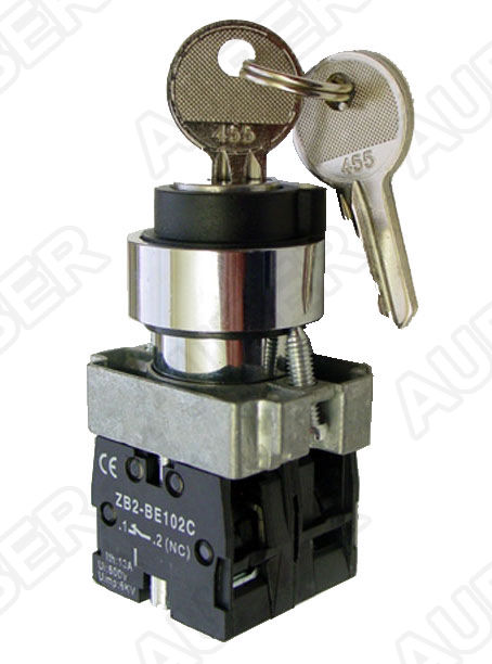 Key Selector Switch, 2-Position Maintained 1NO 1NC, 22mm