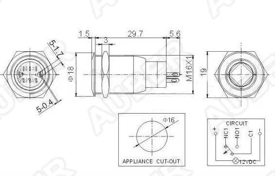 illuminated metal push maintained button switch  12vdc