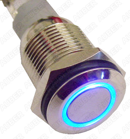 Illuminated Metal Push Maintained Button Switch, 12VDC, 16mm