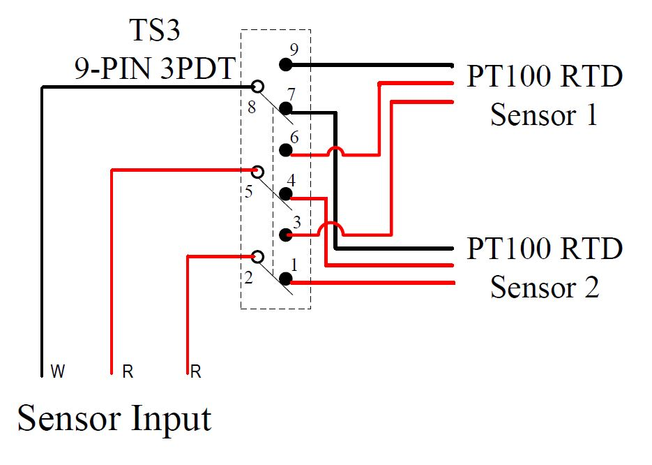 temperature sensors auberins com temperature control solutions wiring example 1 selecting from two pt100 rtd sensors by a toggle switch switching all three wires