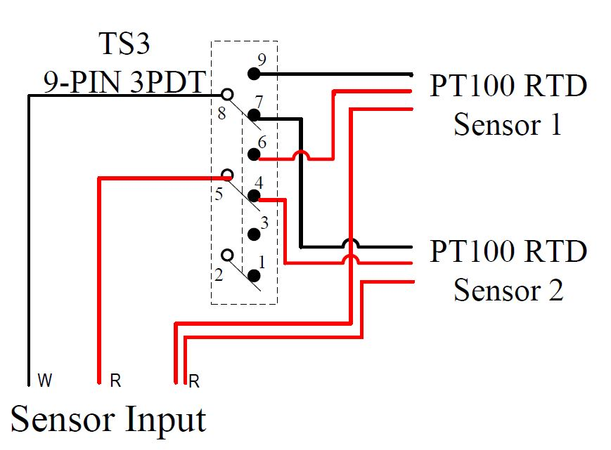 temperature sensors auberins com, temperature control solutions Rtd Sensor Wiring wiring example 2 selecting from two pt100 rtd sensors by a toggle switch switching two wires rtd sensor wiring