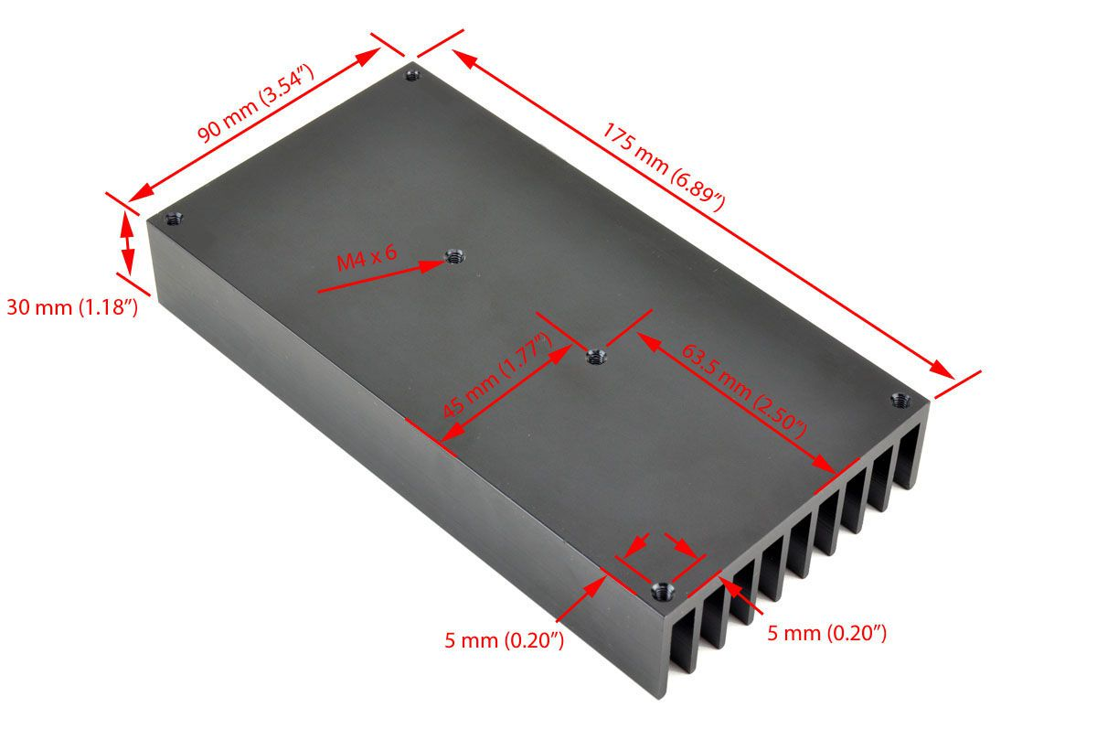 External Mount Heat Sink For 40a Ssr Rectangular
